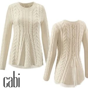 CAbi Creme Lace Up Cable Knit Sweater